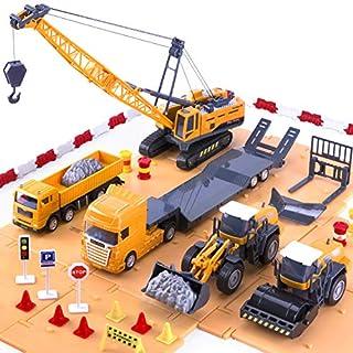 iPlay, iLearn Construction Site Vehicles Toy Set, Kids Engineering Playset, Trucks, Trailer, Crane, Forklift, Bulldozer, Steamroller, Plow, Gift for 3, 4, 5, 6 Year Olds Boys, Toddlers, Kids, Children