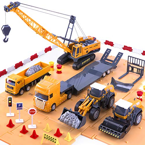 iPlay, iLearn Engineering Construction Site Play Set, Bulldozer, Steamroller, Forklift, Crane, Truck, Plow, Trailer, Equipment Vehicles, Signs & Cones, Toy Gift for Boys, Girls, Kids & Children
