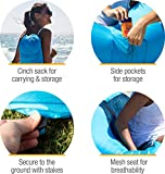 CleverMade AirChair: Lightweight Recliner Style Inflatable Air Lounger, Portable Outdoor Chair With Carry Bag And Ground Stakes, Blue