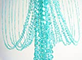 Decorative Doorways Windows Bead Curtain 3 ft x 6 ft Iridescent Sky Blue Color Plastic Crystal Beaded Curtain