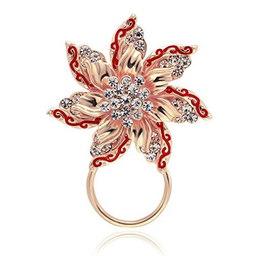 SenFai Beautiful Fantasy Multi-Layer Petals Colorful Crystal Flower Magnetic Eyeglass Holder (Rose Gold)