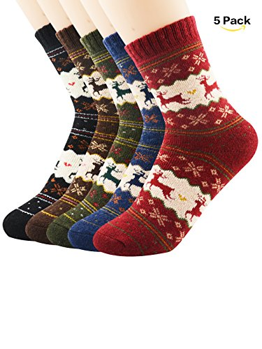 Zando Womens Super Thick Merino Ragg Wool Crew Winter Socks 5-Pack Christmas Deer Multi-colored Size (Most Deer)