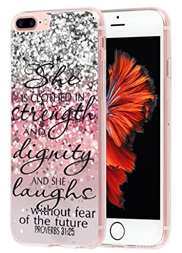 Case for iPhone 7 Plus iPhone 8 Plus Bible Verse for Girls MUQR Apple iPhone 8 Plus Case & iPhone 7 Plus Cover Protective Slim Rubber Fashion Silicone - Christian Songs