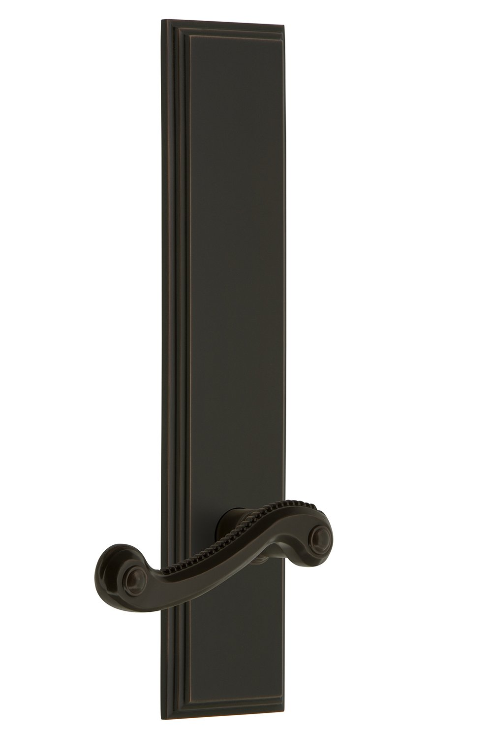 Grandeur 836309 Hardware Carre Tall Plate Dummy with Newport Lever in Satin Nickel Single