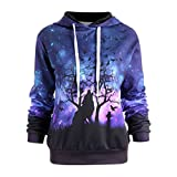 Women Baseball Jacket, Winter Hoodie, Round Neck Wolf Print Long Sleeve Jumper Hoodie Casual Hooded Sweatshirt Pullover Tops By Quistal