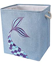 "WERNNSAI Mermaid Storage Bin - 16"" × 13"" × 18"" Linen Fabric Storage Baskets Collapsible Nursery Hampers Laundry Basket Boxes Cube Girls Baby Gift Baskets Toys Clothes Shoes Home Organizer"