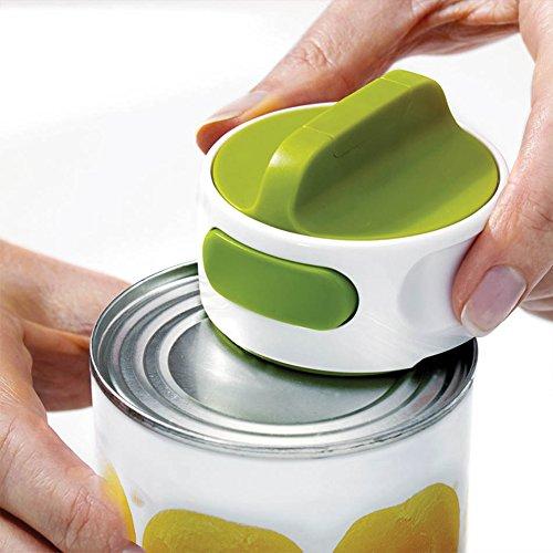 Cikuso Rond Ouvre-Boite en Acier Inoxydable Facile Manuel Rotation en Conserve Fruits Dejeuner Viande Anti-Derapant Ouvre Cuisine Outils