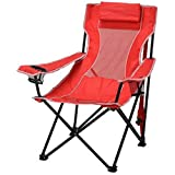 Ozark Trail Durable, Oversized Mesh Lounge Folding Outdoor, Beach, Camp Chair- Includes Carrying Bag- Red