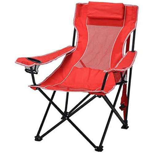 Ozark Trail Durable, Oversized Mesh Lounge Folding Outdoor, Beach, Camp Chair- Includes Carrying Bag- Red by Ozark Trail
