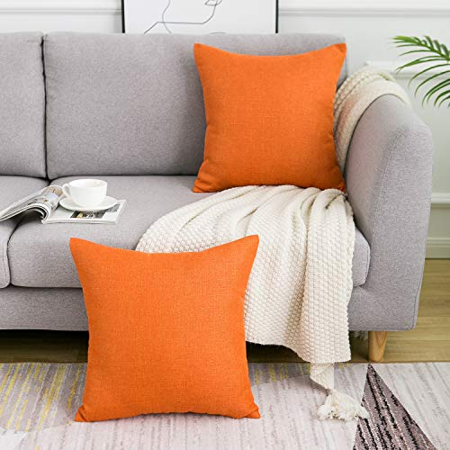 WLNUI Orange Pillow Covers Decorative Square Throw Pillow Covers Cotton Linen Cushion Case for Sofa Couch Home Farmhouse Decor 20x20 Inches