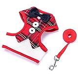 NOVMAY Set of 2 pcs - [Harness + Leash] Pet Costumes Red Bowtie Gentleman Suit Banquet Tuxedo Harness Vest for Small Dog,Cat - Christmas,Xmas,Wedding,Party (REG-M)