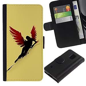 Billetera de Cuero Caso Titular de la tarjeta Carcasa Funda para Samsung Galaxy S5 V SM-G900 / Sexy Red Wing Angel / STRONG