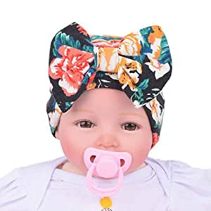 3aea216e71c Amazon.com   Tenworld Nursery Baby Hats Flower Bowknot Newborn Girl Hospital  Hat (Black)   Baby
