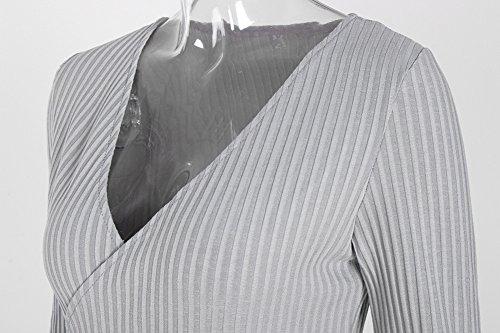 V Neck Party Bodycon Women's Playworld Evening Dress Grey Wrap Mini v4PFaW5B
