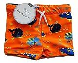 Koala Kids Infant Boys Orange Whales & Submarines Swim Trunks Board Shorts 3-6m