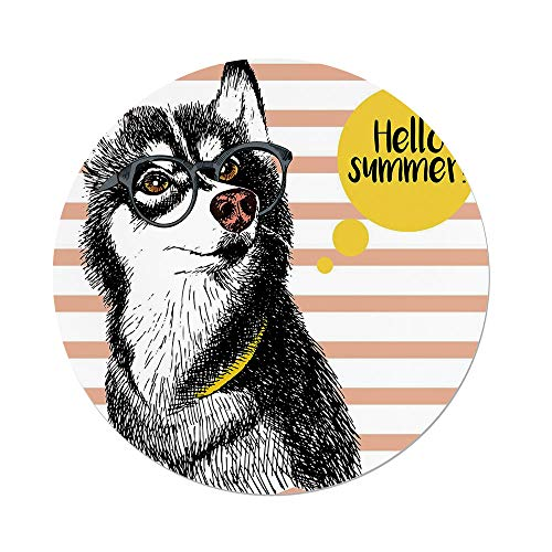 iPrint Polyester Round Tablecloth,Alaskan Malamute,Retro Design Cute Hipster Husky Glasses Saying Hello Sketch Artwork Decorative,Multicolor,Dining Room Kitchen Picnic Table Cloth Cover Outdoor Ind