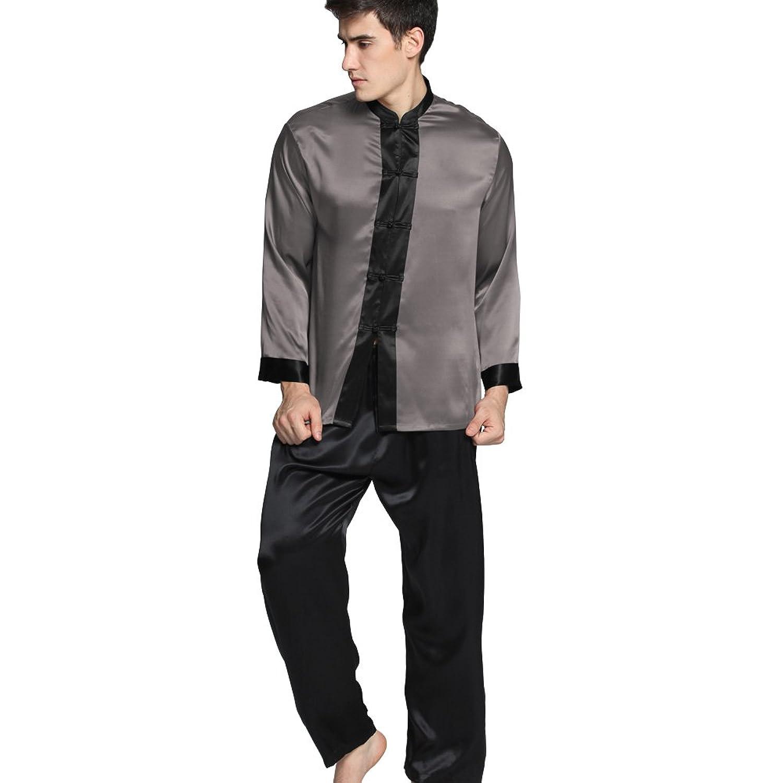 LilySilk (リリーシルク)メンズパジャマ シルク ドラマチック ナイトウェア  メンズフルレングス   高級シルク100%  ギフトにも最適  着心地抜群 OEKO認証済み【 ドラマチック/22匁】 B00O5Q4XRG  ダークグレー M