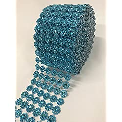 "Ben Collection 4"" X 10 Yards (30 Feet) Flower Diamond Mesh Faux Rhinestone Ribbon Wrap for Wedding, Party, and Events Decoration (Turquoise)"