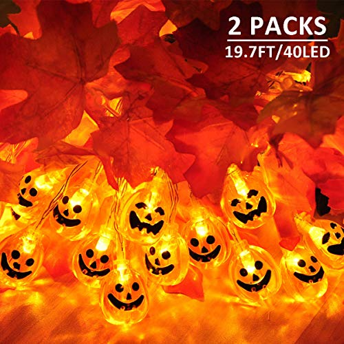 MAOYUE 2 Pack Halloween Lights Outdoor 19.7ft 40 LED Halloween String Lights 3D Pumpkin Lights Battery Operated Jack-O-Lantern Lights 8 Modes for Halloween Decorations Outdoor, Indoor, ()