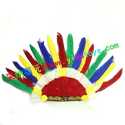 Máscara de Halloween Máscara mascarada en demostraciones del juego tocado indio de plumas de colores ,