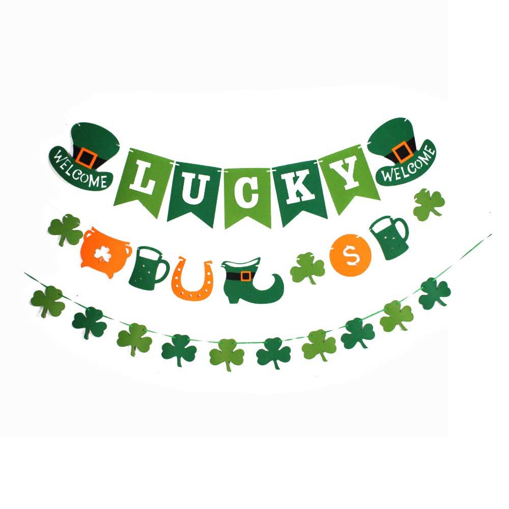 St.Patrick Shamrock Garland Banner Flags Lucky Leaf Clover Celebration Decor JHSP19 Set B