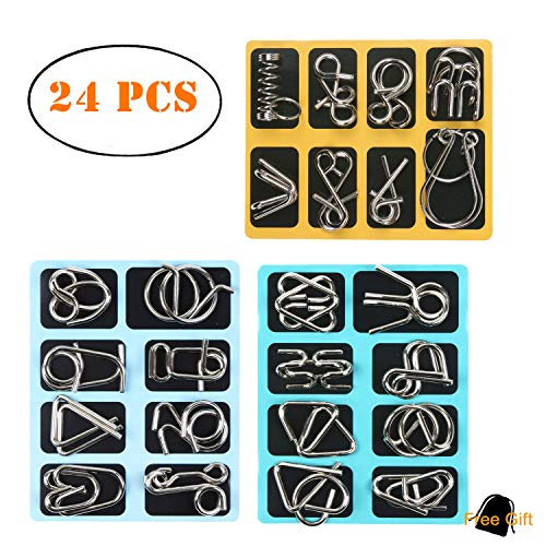 Kizh IQ Toys,IQ Test Mind Game Toys Brain Teaser Metal Wire Puzzle 24 Pieces Magic Trick Toy Gift for Kids and Adults Challenge Set of 24