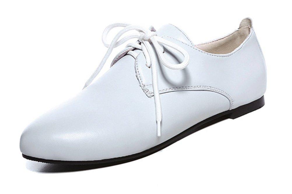 Easemax Femme de Easemax Mode Chaussures de Ville à Lacets Plates Femme Derbies Blanc 36b027f - jessicalock.space