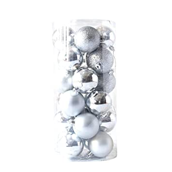 Amazon 40pcs Large Christmas Tree Ball Ornaments Decorative Fascinating Silver Balls Decor