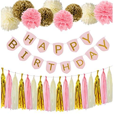 37pcs Happy Birthday Banner,Pink and Gold Birthday Decorations,Pom Poms Flower Kit,Tassel Garland for Birthday Party Decorations