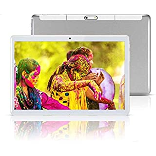 """Android Tablet 10 Inch with Sim Card Slots - 10.1"""" 4GB RAM 64GB ROM Octa Core 3G Unlocked GSM Phone Tablet PC with WiFi Bluetooth GPS Netflix YouTube (Silver)"""