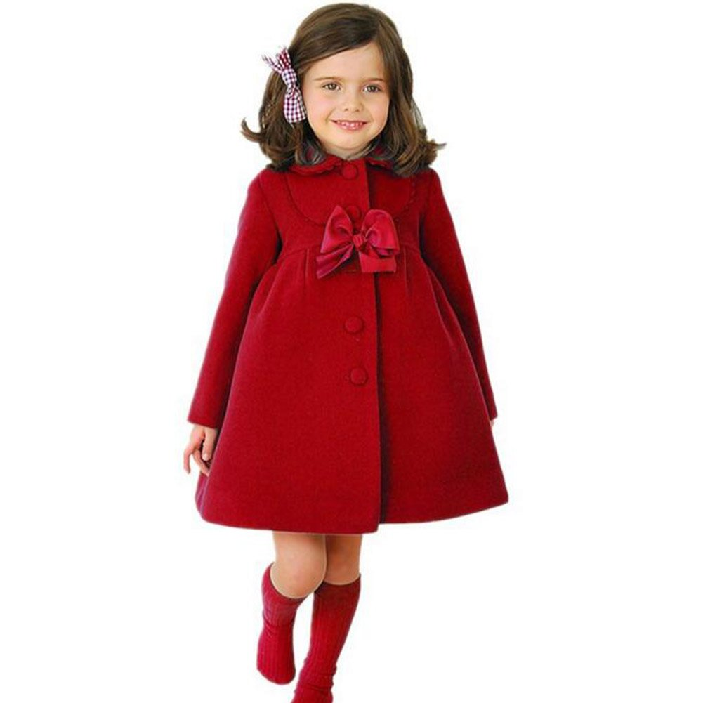 Highdas Little Girls Bowknot Windbreaker Autumn Winter Outwear Dress Coat Red/120 Highdas Network Technology Ltd