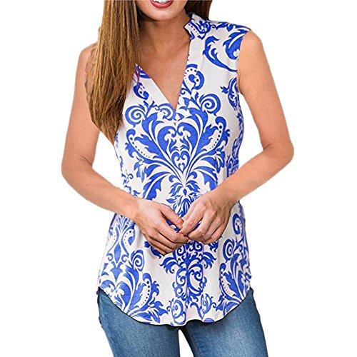 FONMA Fashion Womens Casual Sleeveless Vest Tank Tops V-Neck Print Tank Blouse Blue ()
