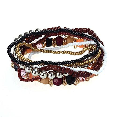 Swyss Fashion 7PCS/Set Women Multilayer Acrylic Beads Bangle Beach Friendship Charm Bracelet Bohemia Vintage (Coffee)