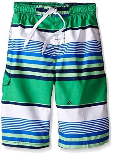 Kanu Surf Big Boys' Optic Quick Dry Beach Swim Trunk, Green, Small (8) (Boys Bathing Suits Size 8)