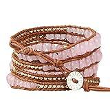 KELITCH Pink Crystal Rose Gold Beaded 5 Wrap Braceleton Natural Leather Fashion Tennis Bracelet New