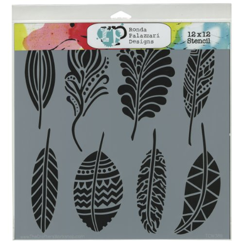Feather Stencil (Commonwealth Basket Crafter's Workshop Template, 12 by 12-Inch, Fancy)