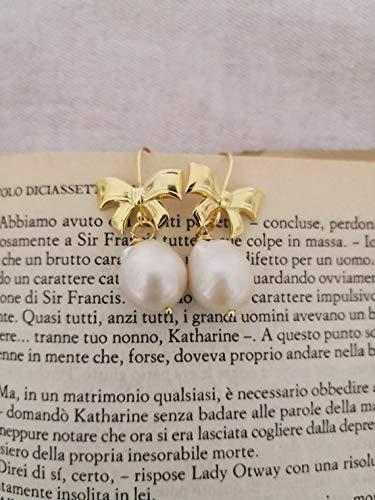 aac5d101f9 Orecchini in Argento 925 placcato Oro con Fiocchi e Perle barocche a goccia