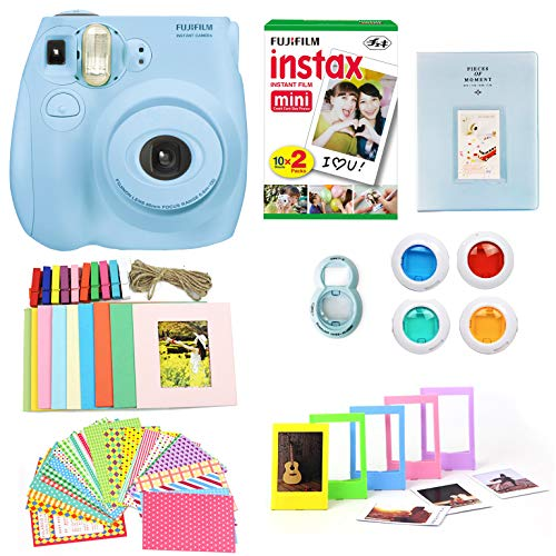 Fujifilm Instax Mini 7S Camera + Photo Accessories Bundle – New Renewed Instant Camera w Fun + Colorful Album, Stickers, Frames, Close Up Lens & Color Filters (Light Blue)