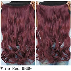 """Secret Halo Hair Extensions Flip in Curly Wavy Hair Extension Synthetic Women Hairpieces 20"""" (Wine Red #BUG)"""