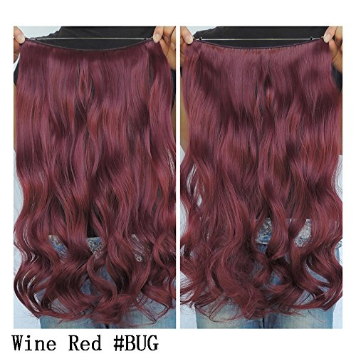 "Secret Halo Hair Extensions Flip in Curly Wavy Hair Extension Synthetic Women Hairpieces 20"" (Wine Red #BUG)"