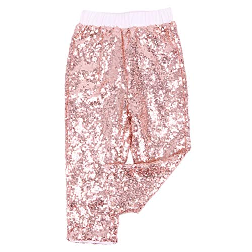 Cilucu Leggings for Baby Girls Toddler Sequin Pants Kids Birthday Clothes Sparkle on Both Sides Rose Gold 6T ()