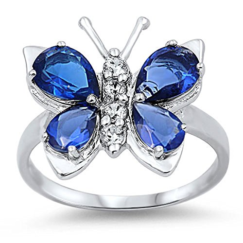 Blue Simulated Sapphire Beautiful Butterfly Ring .925 Sterling Silver Band Size 6