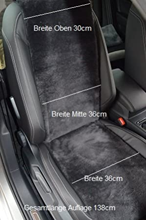 Leibersperger Felle Autositzauflage Autositzbezug Autofell Lammfell Premium 36 cm x 138 cm Schiefer