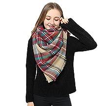 Women Plaid Blanket Scarf Long Scarves Big Grid Winter Scarf Wrap Shawl for Women (Borwn Red Scarf)