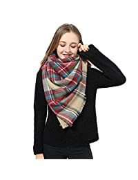 Women Plaid Blanket Scarf Long Scarves Big Grid Winter Scarf Wrap Shawl for Women