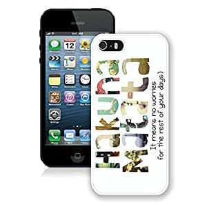 Gaodashang Hakuna Matata Hard Plastic iPhone 5 5S Case White Cover Cool cell phone cases