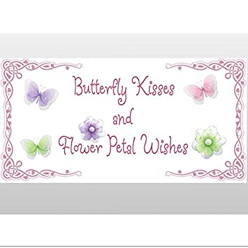 Butterfly Kisses And Flower Petal Wishes Removable Vinyl Wall Stickers Girls Room Baby Nursery Sayings