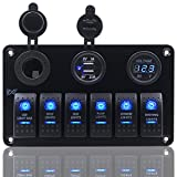 FXC 6 Gang Rocker Switch Panel with Digital Voltmeter+12V power Socket +Double USB Power Charger Adapter Waterproof Blue LED Backlight for Car Trailer Marine Boat (KG006)¡­