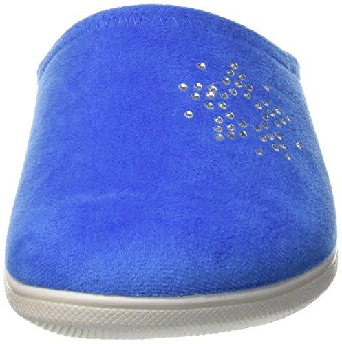 028 Blupuff jeans Blu Mules Femme Spugna Turquoise In pq10U1