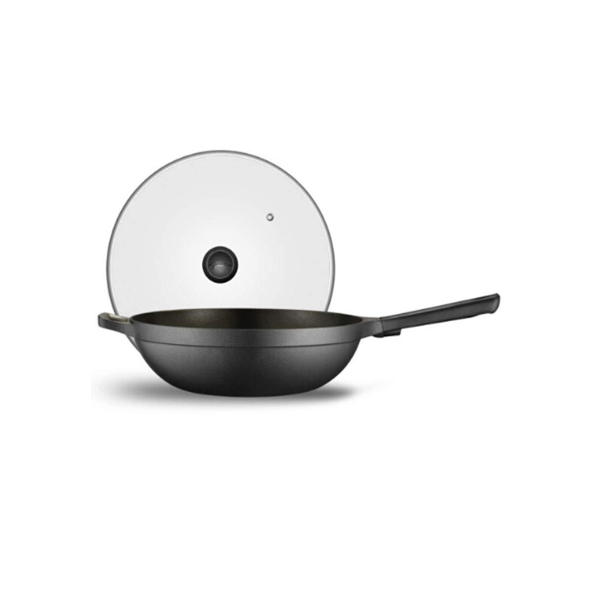 鍋、キッチンの標準の12.8インチ鋳鉄製の中華なべ、平底の焦げ付き防止の中華なべ、黒 (Color : Black)  Black B07QNTZR33